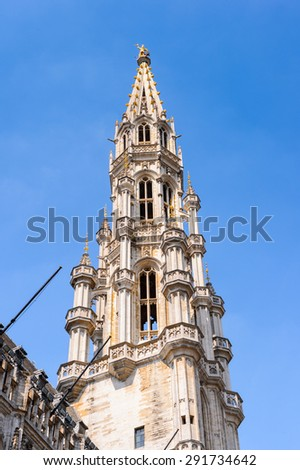 City Hall on the Grand Place (Grote Markt), the central square of Brussels, the UNESCO World Heritage - stock photo