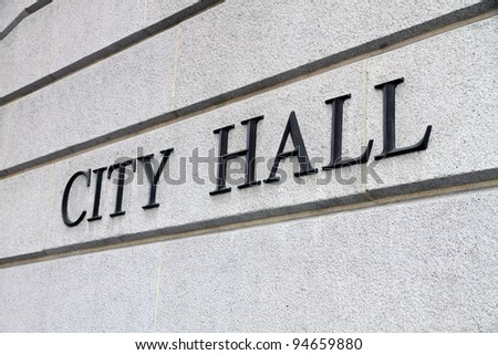 City Hall Sign - stock photo