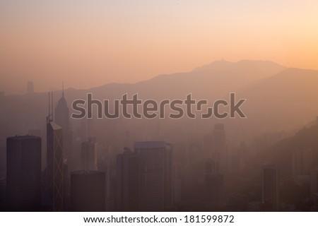 City Haze Sunrise - stock photo