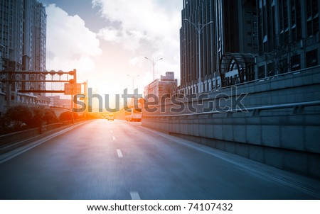 City high-rise buildings and roads