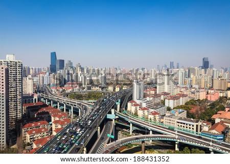 city highway junction on traffic rush hour in shanghai  - stock photo