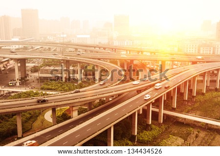 city highway overpass - stock photo