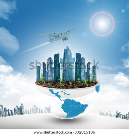 City in half earth on blue sky background