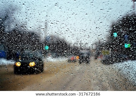 city in rain - stock photo