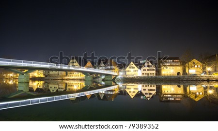 "City in south germany called ""Rottenburg am Neckar"" at night - stock photo"