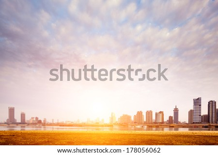 city in sunset - stock photo