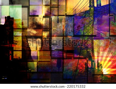 City Industrial Abstract - stock photo
