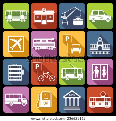 City infrastructure icons white set with airport metro parking station isolated  illustration - stock photo
