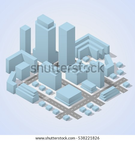 City isometric plan with road and urban silhouette of building. City abstract buildings and roads.