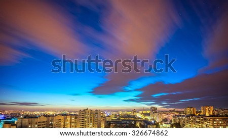 City landscape at nigh sky. HDR. - stock photo