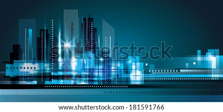 City landscape at night. Raster version - stock photo