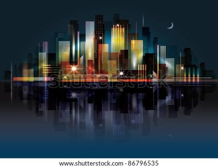 City Landscape at night. Raster version. - stock photo
