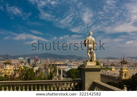 City Landscape from balcony with statue in Barcelona, Spain - stock photo