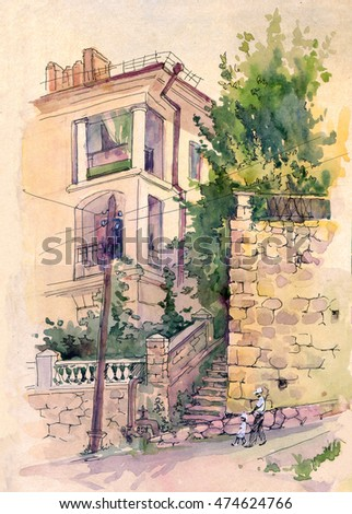 City landscape. Street of the old town. Sevastopol, Crimea. Travel sketches . Watercolor. Drawing by hand.