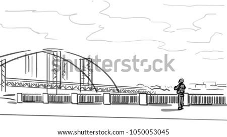city landscape river bridge embankment man stock illustration