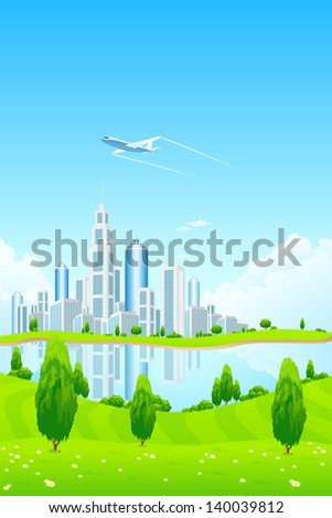 City Landscape with Green Hills Airplane Lake Trees Flowers and Clouds - stock photo