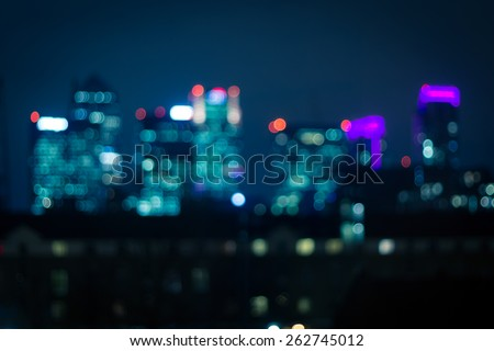 City lights bokeh, financial district skyscrapers  - stock photo