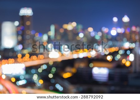 City lights bokehs night view - stock photo