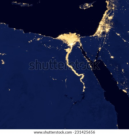 City lights Of Egypt ,Elements of this image are furnished by NASA - stock photo
