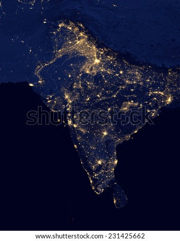 City lights Of India ,Elements of this image are furnished by NASA - stock photo