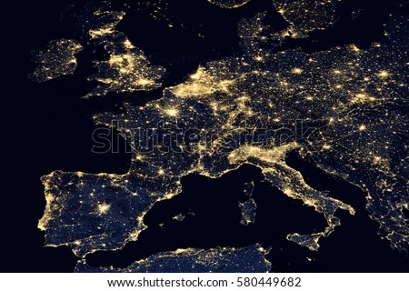 City lights on world map europe stock photo image royalty free city lights on world map europe elements of this image are furnished by nasa gumiabroncs