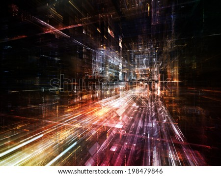 City Lights series. Abstract design made of technological fractal textures on the subject of science, technology, design and imagination - stock photo