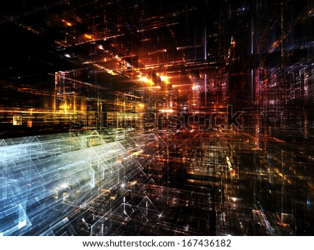 City Lights series. Background design of technological fractal textures on the subject of science, technology, design and imagination - stock photo