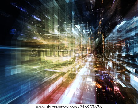 City Lights series. Design composed of technological fractal textures as a metaphor on the subject of science, technology, design and imagination - stock photo
