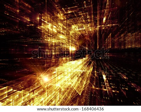 City Lights series. Graphic composition of technological fractal textures to serve as complimentary design for subject of science, technology, design and imagination - stock photo