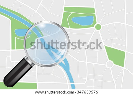City map and Transparent Magnifying glass. Abstract town plan. Raster version. Illustration