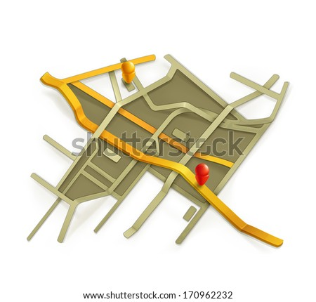 City map, bitmap copy - stock photo