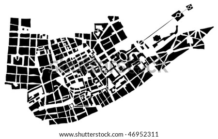 City map of the unknown city - stock photo