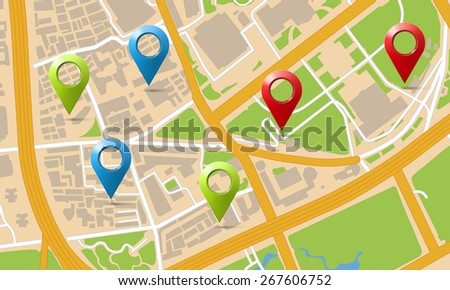 city map with markers - stock photo