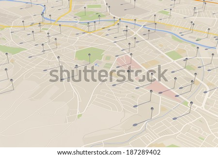 city map with Pin Pointers 3d rendering image - stock photo