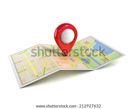 city map with pointer 3d illustration  - stock photo
