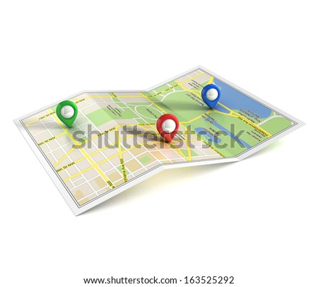 city map with pointers 3d illustration  - stock photo