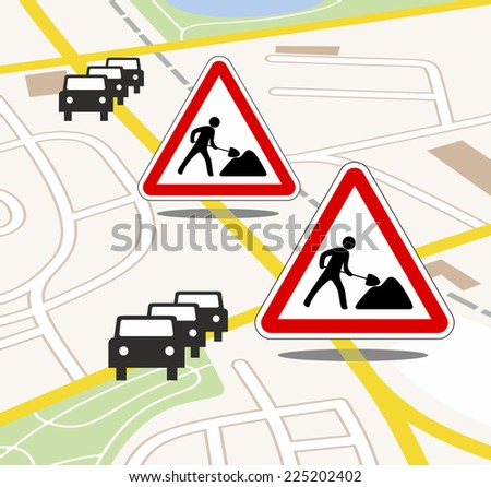 city map with traffic and road works updates - stock photo