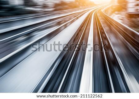 City Metro Rail,motion blur - stock photo