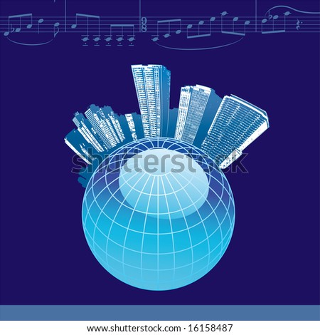 City Music Background with a globe, in blue.