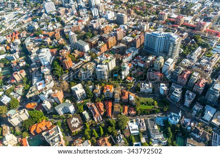 City neighbourhood, suburb in the summer aerial - stock photo