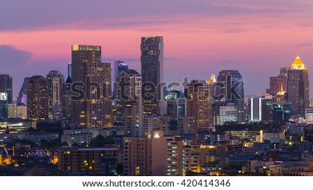 City night business building with beautiful sky background