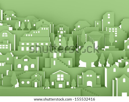 City night concept on green - stock photo