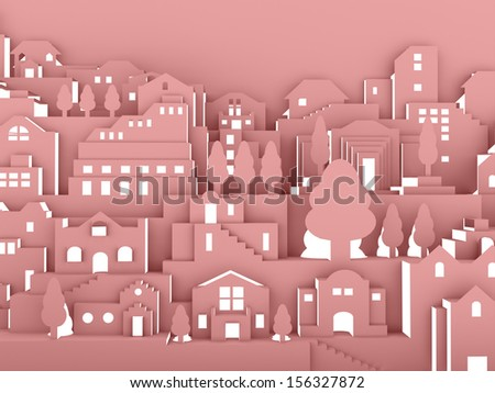 City night concept on red - stock photo