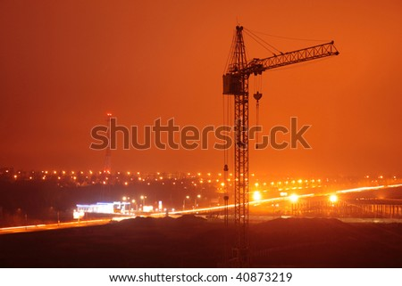 City night landscape - building at night