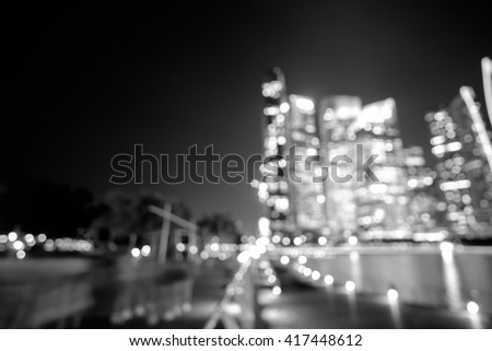City night lights bokeh of singapore black and white blurred background