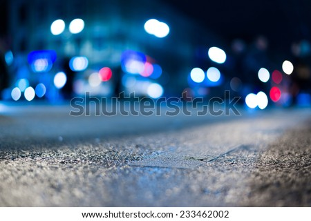 City night lights. In blue tones - stock photo