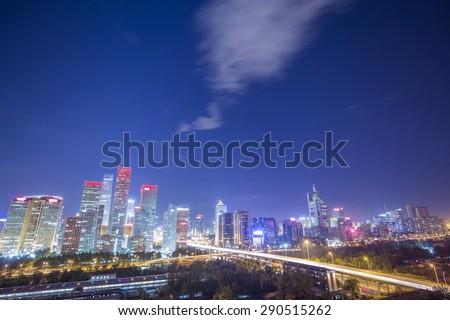 City night of beijing - stock photo