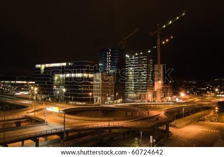 city night view from Oslo Opera house - stock photo