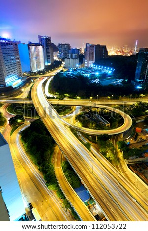 city night with highway - stock photo