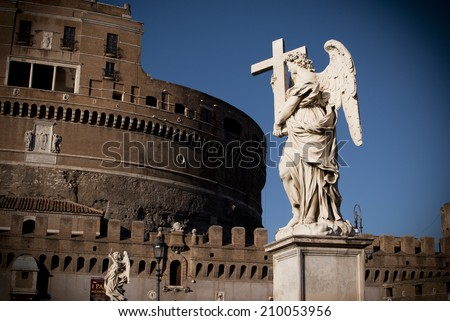 City of Angels/Angel Statue in Rome, near Castel Sant'Angelo in Rome. - stock photo